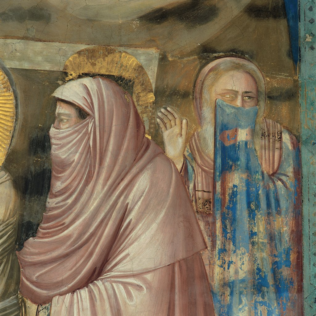 Stock Photo: 1899-33289 Stories of Christ of The Raising of Lazarus, by Giotto, 1304 - 1306, 14th Century, fresco. Italy, Veneto, Padua, Scrovegni Chapel. Scenes from the Life of Christ of Raising of Lazarus hooded figure on the right of Lazarus smell death pink blue halo. aureole rays gold brown tones. hues.