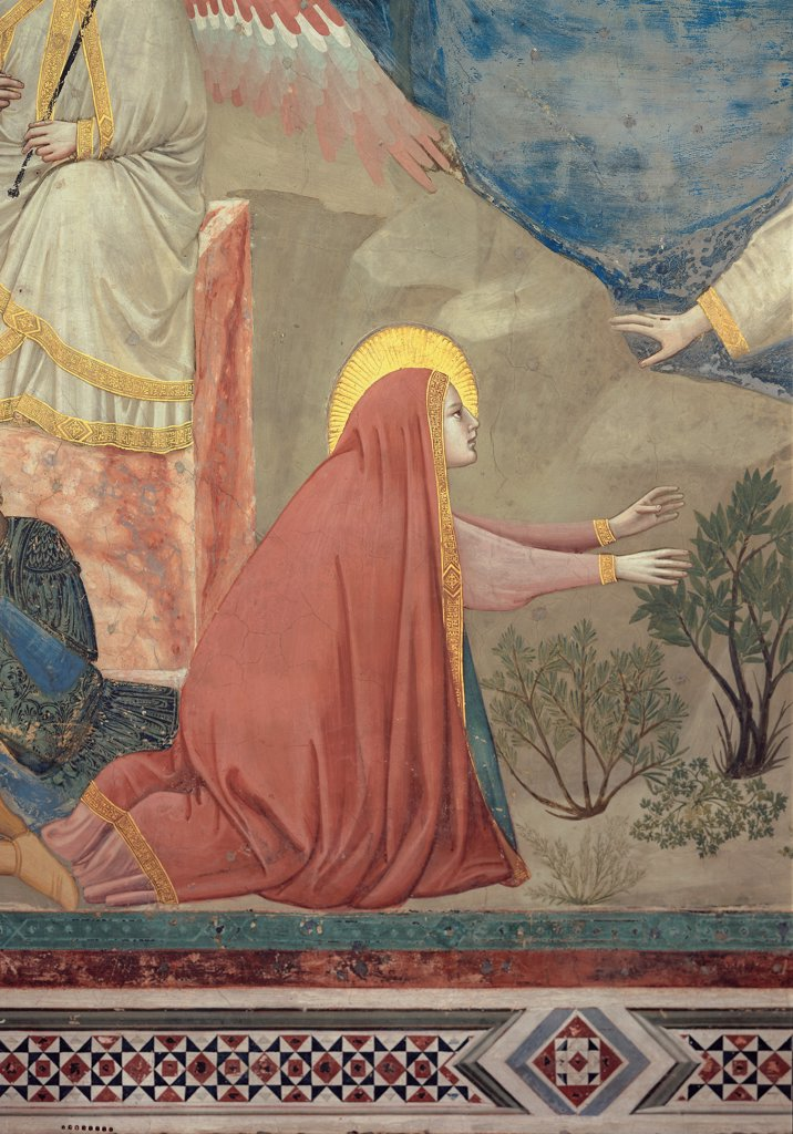 Scenes from the Life of Christ of the Resurrection, by Giotto, 1304 - 1306, 14th Century, fresco. Italy, Veneto, Padua, Scrovegni Chapel. Detail. Mary Magdalene. Image vertical horizontal mantle: cloak veil pink red halo: aureole gold rocks on background blue green. : Stock Photo
