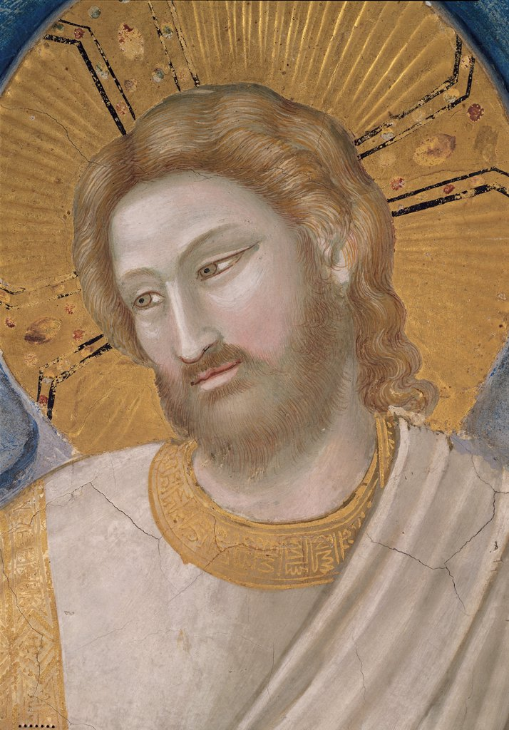 Stock Photo: 1899-33308 Stories of the Passion of Christ of The Resurrection, by Giotto, 1304, 14th Century, fresco. Italy, Veneto, Padua, Scrovegni Chapel. Scenes from the Life of Christ of the Resurrection, Jesus' face halo. aureole dress. garment white gold gray pink brown tones. hues.