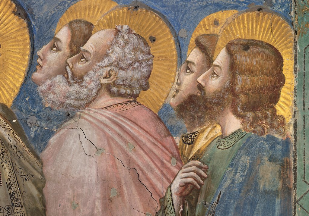 Stories of the Passion of The Ascension, by Giotto, 1304 - 1306, 14th Century, fresco. Italy, Veneto, Padua, Scrovegni Chapel. Scenes from the Life of Christ of Ascension, group of apostles right halos. aureoles rays gold pink green blue drapery. draping folds. : Stock Photo