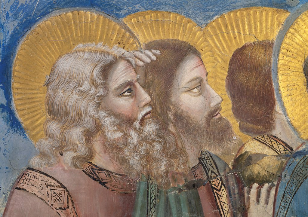 Stock Photo: 1899-33315 Stories of the Passion of The Ascension, by Giotto, 1304 - 1306, 14th Century, fresco. Italy, Veneto, Padua, Scrovegni Chapel. Scenes from the Life of Christ of Ascension, two apostles in the background left halos. aureoles rays pink yellow blue green brown tones. hues.
