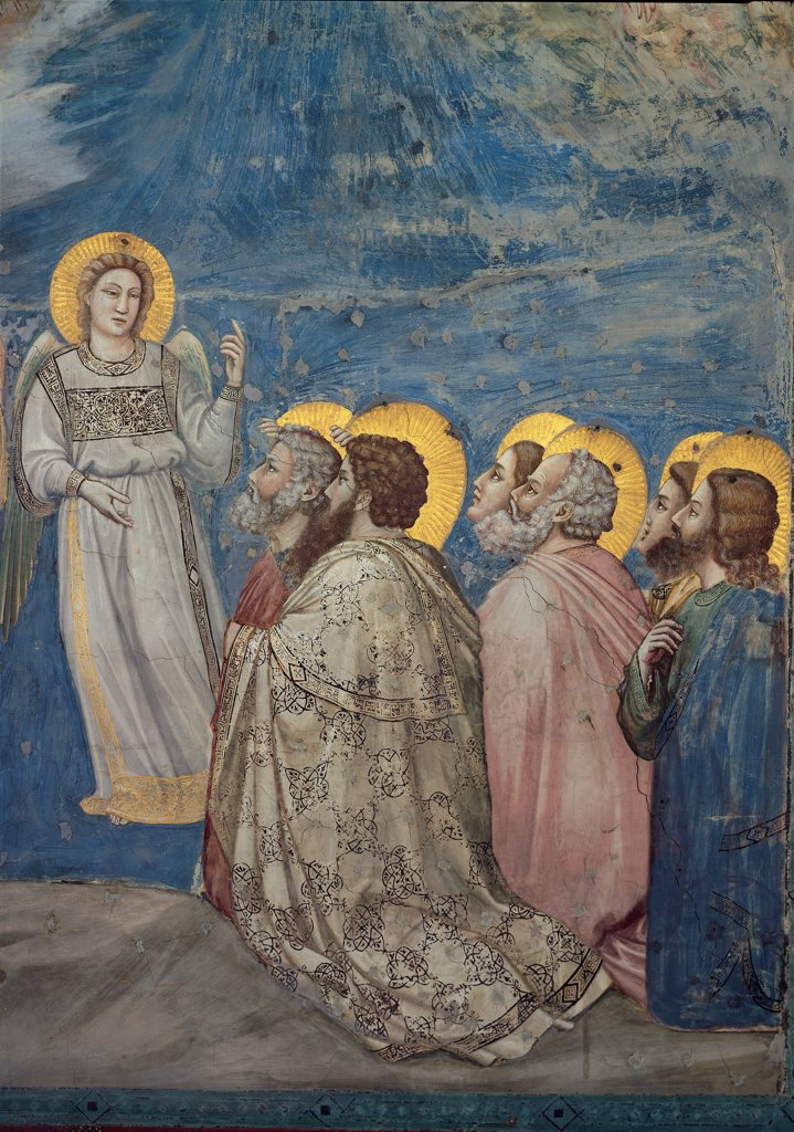 Stories of the Passion of The Ascension, by Giotto, 1304 - 1306, 14th Century, fresco. Italy, Veneto, Padua, Scrovegni Chapel. Scenes from the Life of Christ of Ascension, angel (right) with apostles golden halos. aureoles yellow background blue gray pink red. : Stock Photo