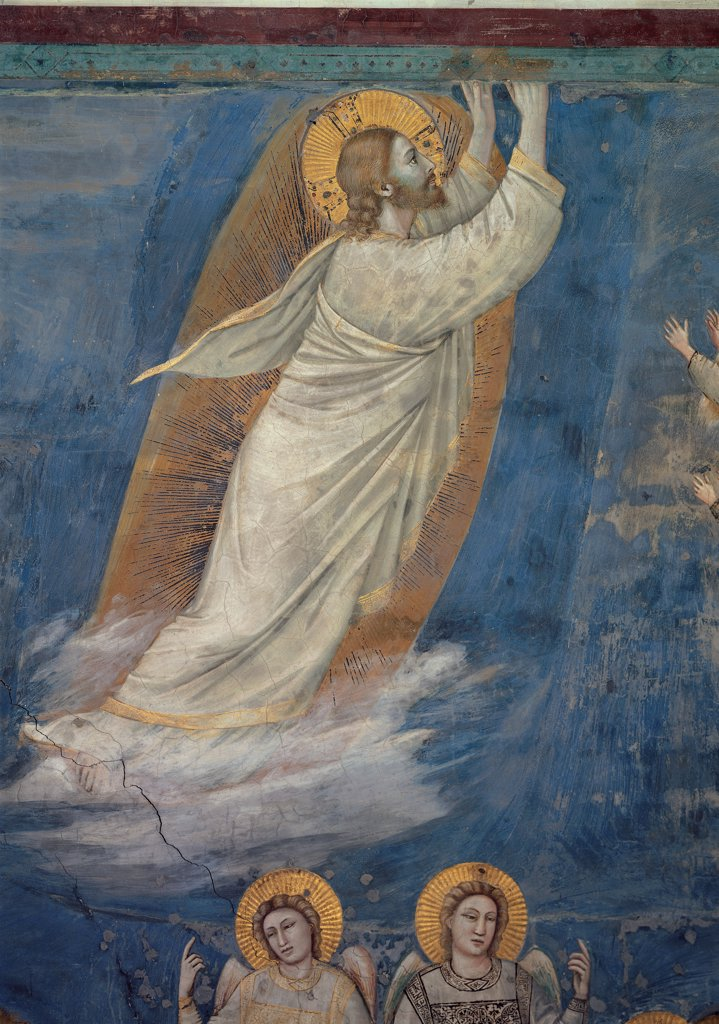 Stock Photo: 1899-33317 Stories of the Passion of The Ascension, by Giotto, 1304 - 1306, 14th Century, fresco. Italy, Veneto, Padua, Scrovegni Chapel. Scenes from the Life of Christ of Ascension, Jesus cloud mantle. cloak draping. drapery halo. aureole background blue.