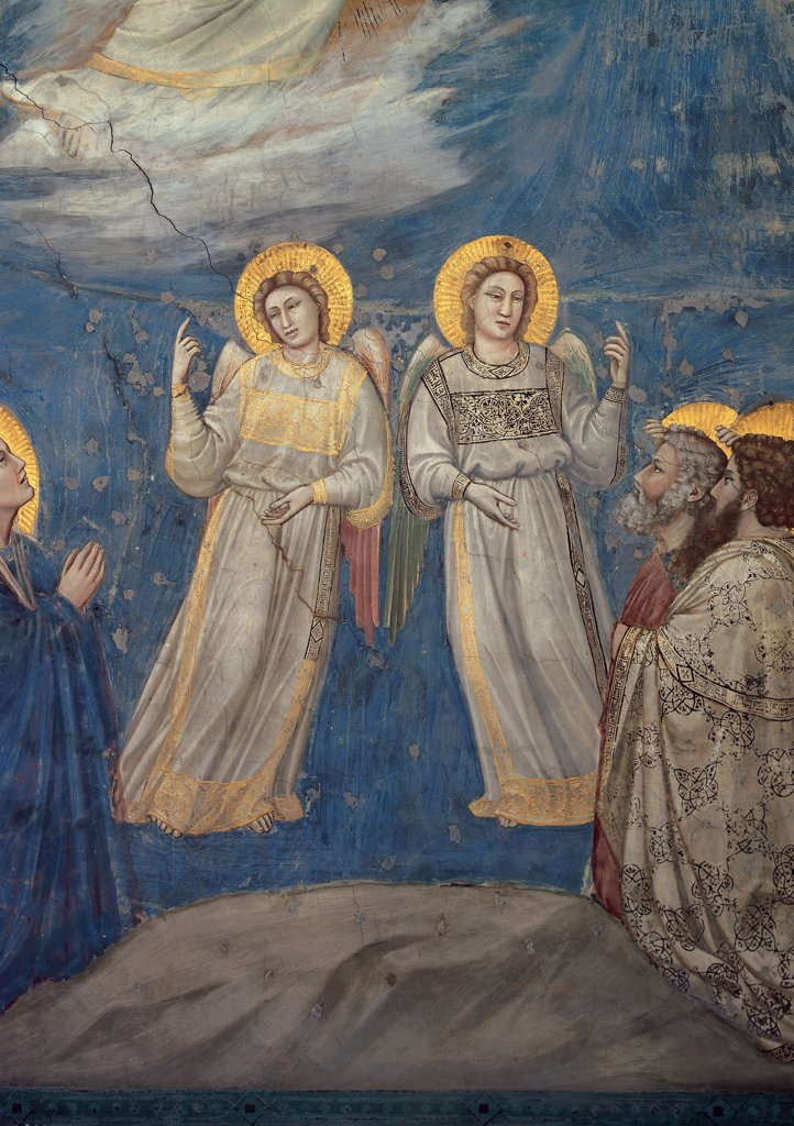 Stories of the Passion of The Ascension, by Giotto, 1304 - 1306, 14th Century, fresco. Italy, Veneto, Padua, Scrovegni Chapel. Scenes from the Life of Christ of Ascension, angels blue background halos. aureoles yellow gold dress. garment gray drapery. draping folds. : Stock Photo