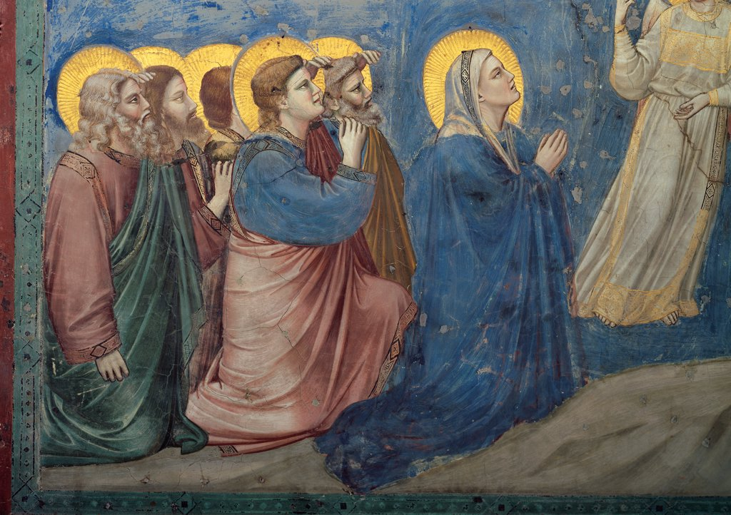 Stock Photo: 1899-33319 Stories of the Passion of The Ascension, by Giotto, 1304 - 1306, 14th Century, fresco. Italy, Veneto, Padua, Scrovegni Chapel. Scenes from the Life of Christ of Ascension, Madonna and apostles pink blue green red rocks.