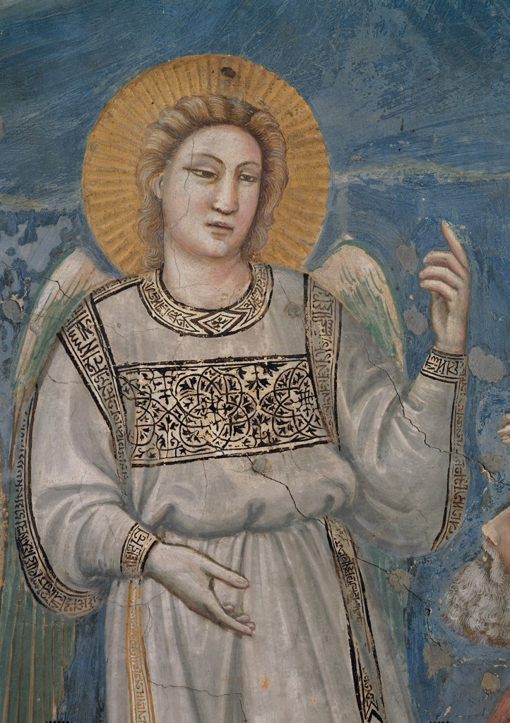 Stories of the Passion of The Ascension, by Giotto, 1304 - 1306, 14th Century, fresco. Italy, Veneto, Padua, Scrovegni Chapel. Scenes from the Life of Christ of Ascension, angel on the right dress. garment gray drapery. draping decoration halo. aureole rays gold yellow ocher blue background. : Stock Photo