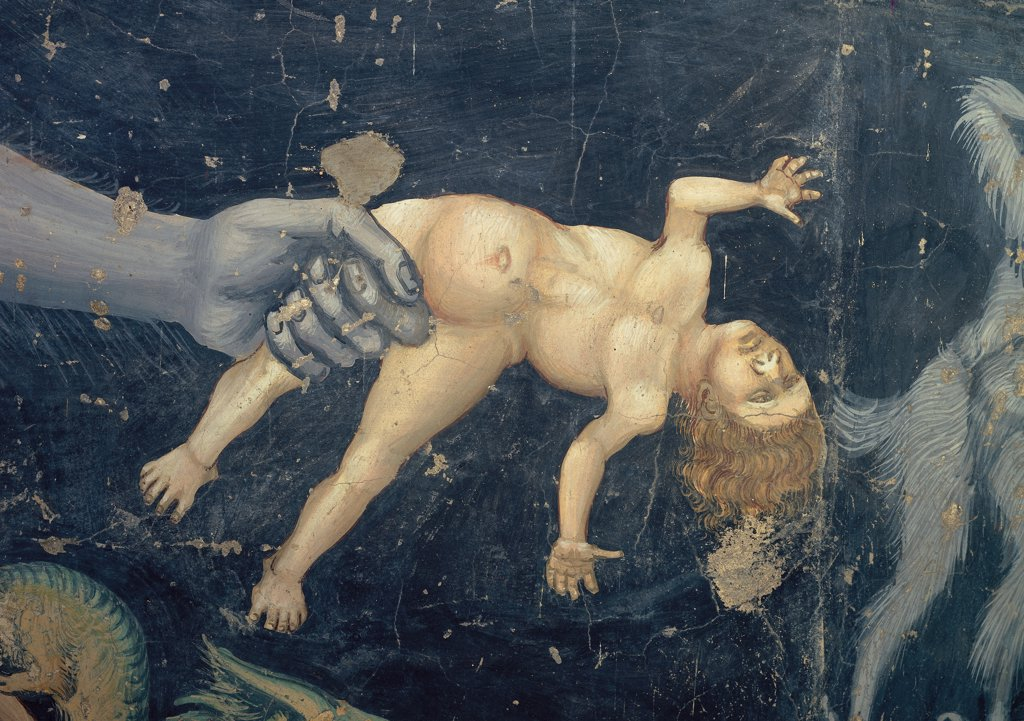 The Last Judgement, by Giotto, 1303 - 1305, 14th Century, fresco. Italy, Veneto, Padua, Scrovegni Chapel. Last Judgment of Lucifer kidnaps a naked damned dark blue background. : Stock Photo