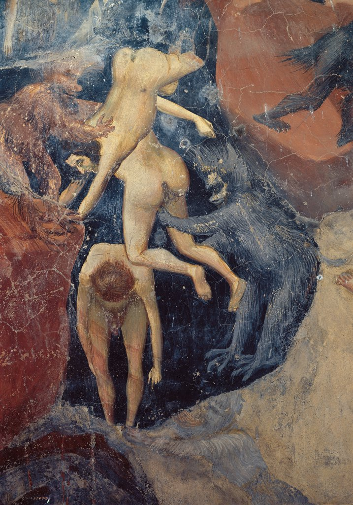 The Last Judgement, by Giotto, 1303 - 1305, 14th Century, fresco. Italy, Veneto, Padua, Scrovegni Chapel. The Last Judgment of demons and damned. : Stock Photo