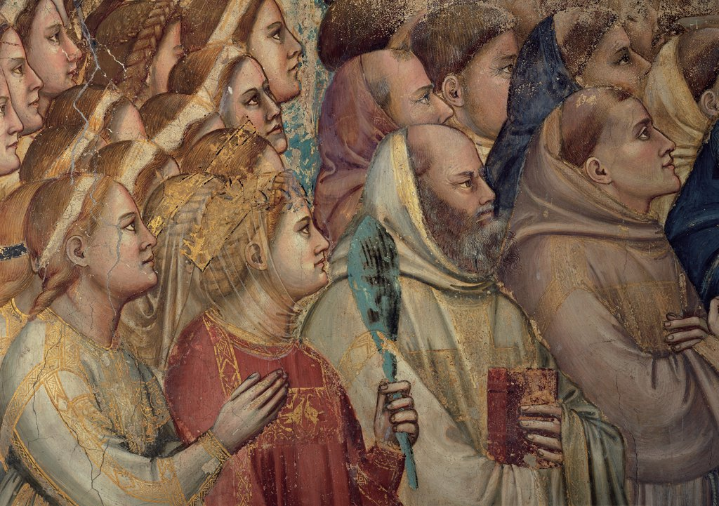 The Last Judgement, by Giotto, 1303 - 1305, 14th Century, fresco. Italy, Veneto, Padua, Scrovegni Chapel. The Last Judgment of a group of elected female figure crown veil tunic. habit hooded monk friars red yellow gold white pink brown tones. hues. : Stock Photo