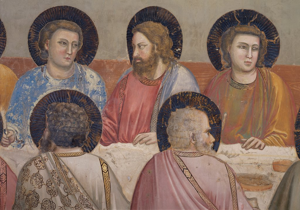 Stories of the Passion of The Last Supper, by Giotto, 1304 - 1306, 14th Century, fresco. Italy, Veneto, Padua, Scrovegni Chapel. Scenes from the Life of Christ of Last Supper, apostles halos. aureoles dark cloak. mantle draping. drapery red blue pink gray white brown tones. hues yellow ocher. : Stock Photo