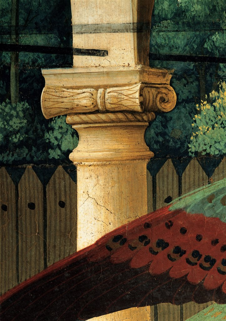 Stock Photo: 1899-33371 The Annunciation, by Guido di Pietro (Piero) known as Beato Angelico, 1438 - 1446, 15th Century, fresco. Italy, Lombardy, Milan, Santa Maria delle Grazie Refectory. Detail. Ionic capital wing of Archangel Gabriel.
