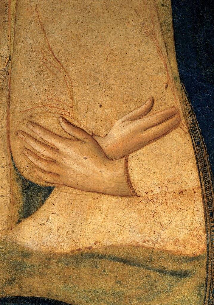 The Annunciation, by Guido di Pietro (Piero) known as Beato Angelico, 1438 - 1446, 15th Century, fresco. Italy, Tuscany, Florence, San Marco Convent, northern corridor, southern wall. Detail. Virgin's hands crossed dress: garment mantle: cloak. : Stock Photo