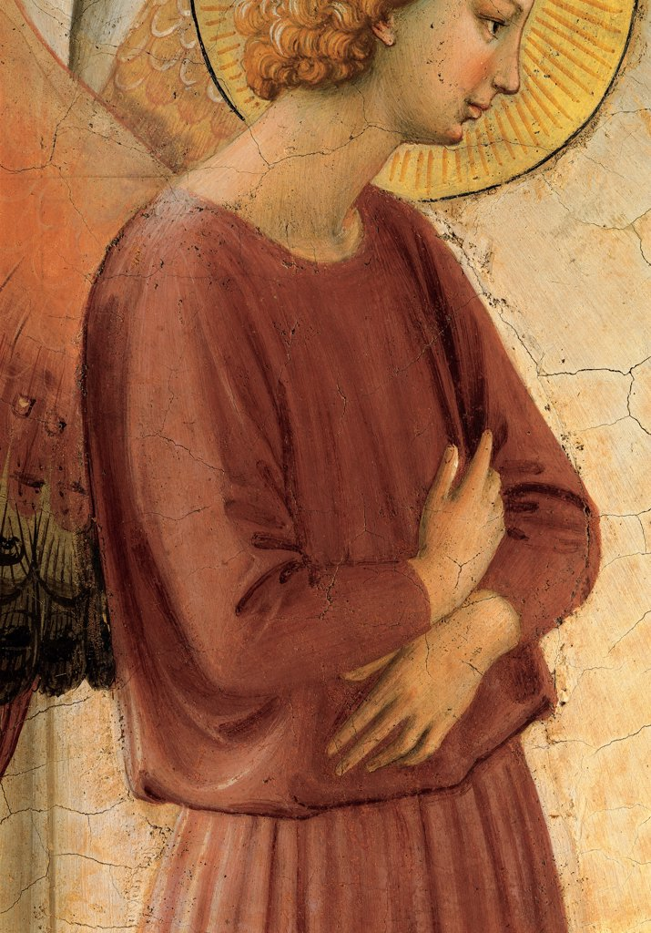 The Annunciation, by Guido di Pietro (Piero) known as Beato Angelico, 1438 - 1446, 15th Century, fresco. Italy, Tuscany, Florence, San Marco Convent, cell 3. Detail. Hands announcing archangel bust torso wings halo: aureole. : Stock Photo