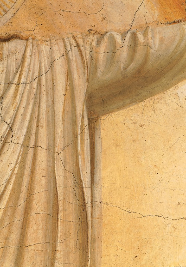The Transfiguration, by Guido di Pietro (Piero) known as Beato Angelico, 1438 - 1446, 15th Century, fresco. Italy, Tuscany, Florence, San Marco Convent, cell 6. Detail. Drape: cloth of Christ dress: garment sleeve tunic: habit. : Stock Photo