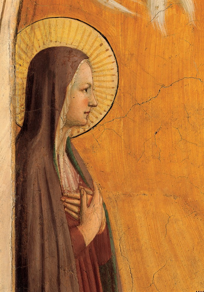 Stock Photo: 1899-33380 The Transfiguration, by Guido di Pietro (Piero) known as Beato Angelico, 1438 - 1446, 15th Century, fresco. Italy, Tuscany, Florence, San Marco Convent, cell 6. Detail. Profile and Virgin's face hands crossed on his chest halo: aureole white brown gold.