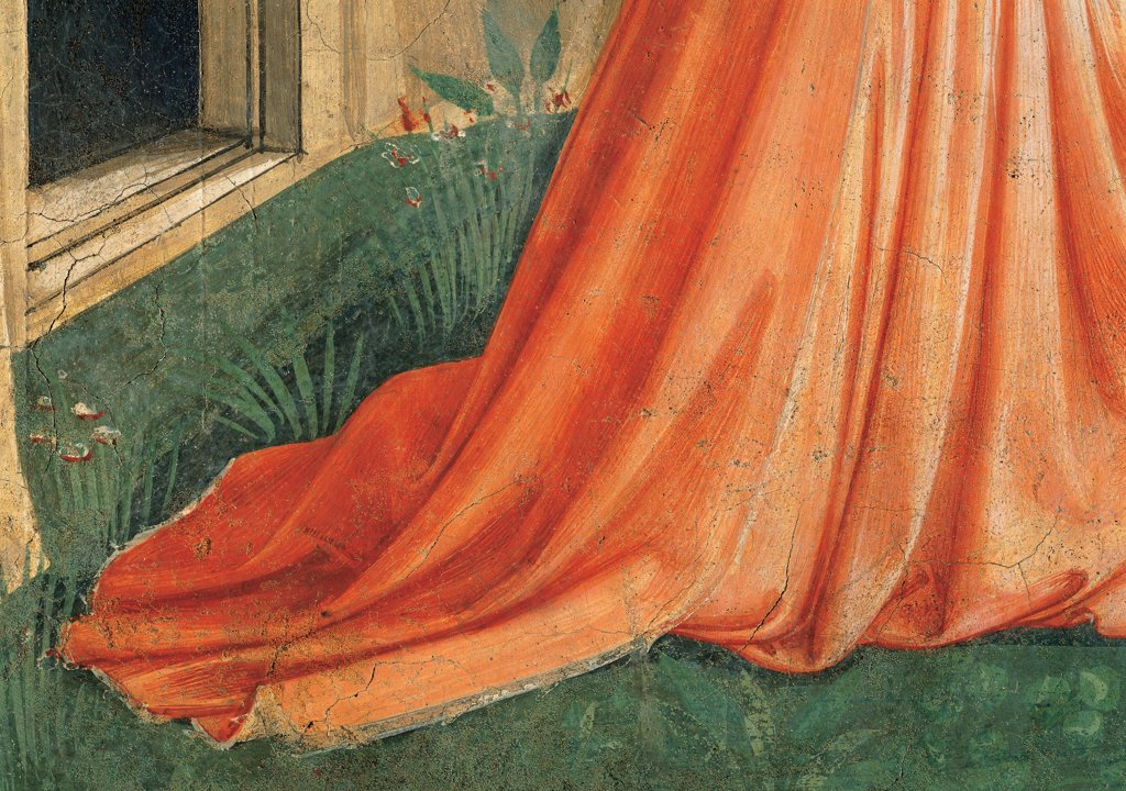 Stock Photo: 1899-33381 Noli me tangere, by Guido di Pietro (Piero) known as Beato Angelico, 1438 - 1446, 15th Century, fresco. Italy, Tuscany, Florence, San Marco Convent, cell 1. Detail. Magdalene's mantle: cloak drapery: draping meadow door threshold.