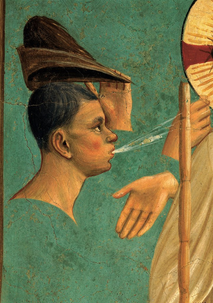 Stock Photo: 1899-33385 Christ Mocked, by Guido di Pietro (Piero) known as Beato Angelico, 1438 - 1446, 15th Century, fresco. Italy, Tuscany, Florence, San Marco Convent, cell 7. Detail. Heads face of man spitting on Christ mocking derision stick cap: hat.