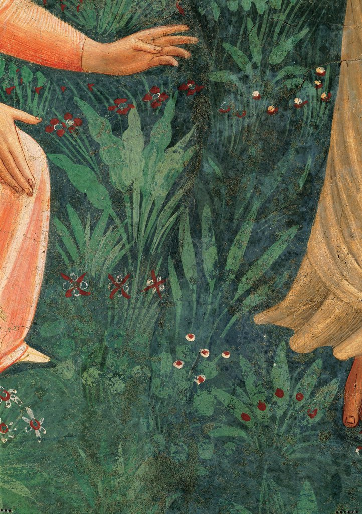 Stock Photo: 1899-33387 Noli me tangere, by Guido di Pietro (Piero) known as Beato Angelico, 1438 - 1446, 15th Century, fresco. Italy, Tuscany, Florence, San Marco Convent, cell 1. Detail. Hands of Mary Magdalene meadow flowers shrubs leaves.