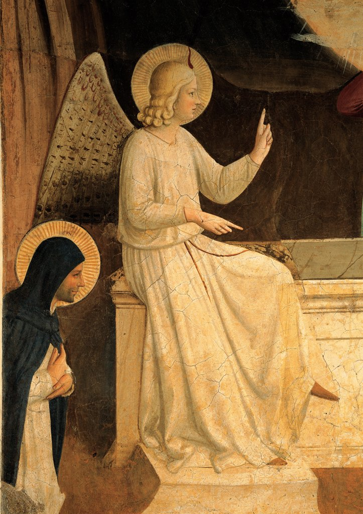 Stock Photo: 1899-33389 Christ Resurrected or The Message of the Angel, by Guido di Pietro (Piero) known as Beato Angelico, 1438 - 1446, 15th Century, fresco. Italy, Tuscany, Florence, San Marco Convent, cell 8. Detail. Angel left sitting sarcophagus marble stone monk kneeling face profile halos: aureoles.