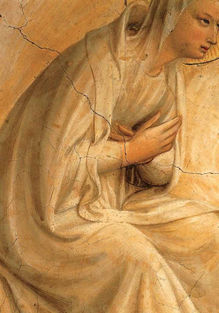 The Coronation of the Virgin, by Guido di Pietro (Piero) known as Beato Angelico, 1438 - 1446, 15th Century, curved fresco. Italy, Tuscany, Florence, San Marco Convent, cell 9. Detail. Crossed hands on her chest of Virgin Mary. : Stock Photo