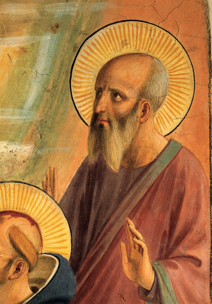 The Coronation of the Virgin, by Guido di Pietro (Piero) known as Beato Angelico, 1438 - 1446, 15th Century, curved fresco. Italy, Tuscany, Florence, San Marco Convent, cell 9. Detail. Bust of St Mark the Evangelist tunic: habit halo: aureole old men white beard. : Stock Photo