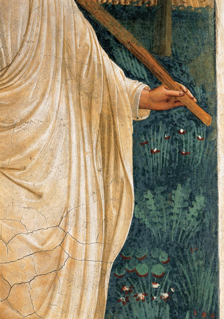 Noli me tangere, by Guido di Pietro (Piero) known as Beato Angelico, 1438 - 1446, 15th Century, fresco. Italy, Tuscany, Florence, San Marco Convent, cell 1. Detail. Christ's hand holding the stick plants flowers shrubs. : Stock Photo