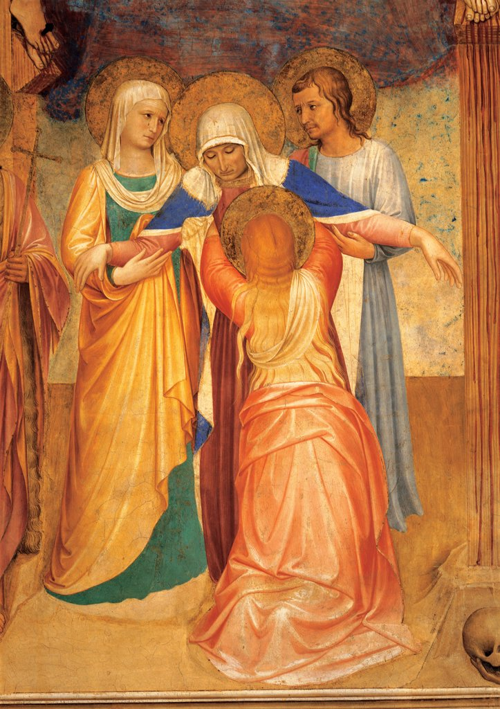 The Crucifixion and Saints, by Guido di Pietro (Piero) known as Beato Angelico, 1438 - 1446, 15th Century, fresco. Italy, Tuscany, Florence, San Marco Convent, Capitular Room, northern wall. Detail. St John, Mary Cleophas and St Mary Magdalene support the Virgin fainting. : Stock Photo