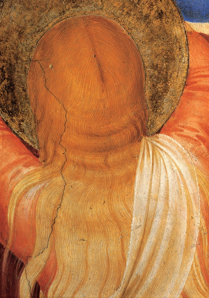 The Crucifixion and Saints, by Guido di Pietro (Piero) known as Beato Angelico, 1438 - 1446, 15th Century, fresco. Italy, Tuscany, Florence, San Marco Convent, Capitular Room, northern wall. Detail. Nape of Mary Magdalene hair veil draping: drapery fabric: tissue halo: aureole. : Stock Photo