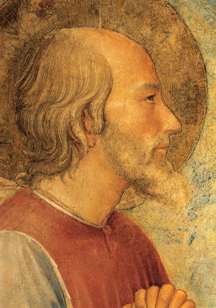 The Crucifixion and Saints, by Guido di Pietro (Piero) known as Beato Angelico, 1438 - 1446, 15th Century, fresco. Italy, Tuscany, Florence, San Marco Convent, Capitular Room, northern wall. Detail. Face of St Cosmas profile halo: aureole. : Stock Photo