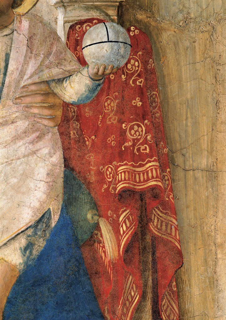 Madonna of the Shadows, by Guido di Pietro (Piero) known as Beato Angelico, 1438 - 1446, 15th Century, fresco. Italy, Tuscany, Florence, San Marco Convent, clerics corridor. Detail. Left hand of Child Jesus: Baby Jesus: Christ Child holding the globe fabric: tissue decoration: ornament. : Stock Photo