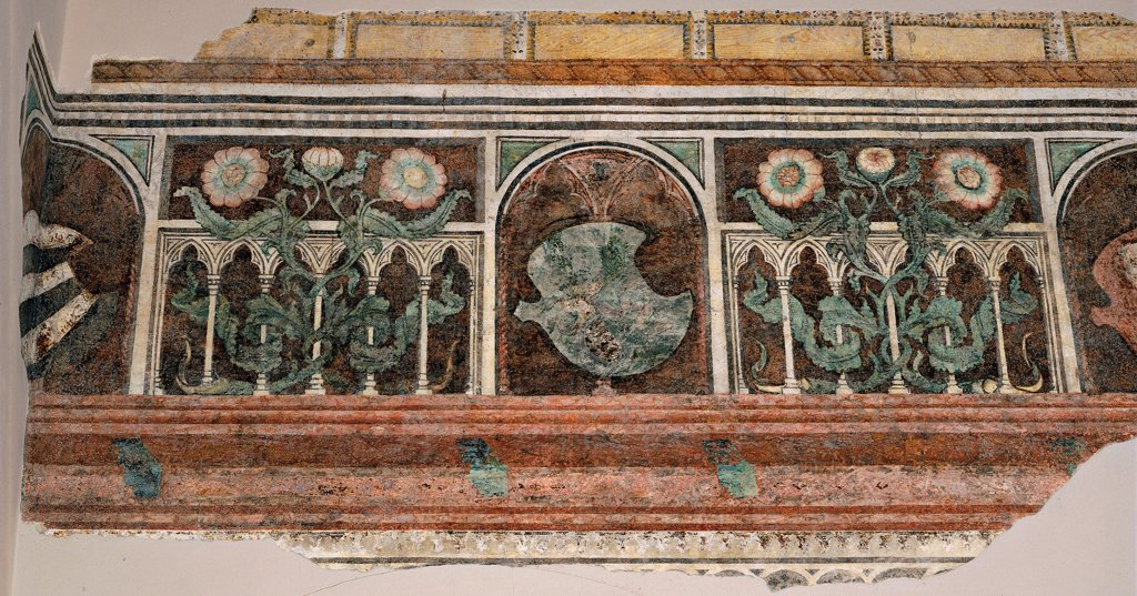 Stock Photo: 1899-33433 Frieze with fake loggia and Gonzaga devices, by co-worker probably Antonio Pisano detto il Pisanello, 15th Century, fresco. Italy, Lombardy, Mantua, Ducal Palace. Whole artwork. Frieze with fake loggia Gonzaga devices trefoil arches floral ornament phytomorphic decoration flowers leaf emblems: coat of arms white green pink brown tones: hues yellow.