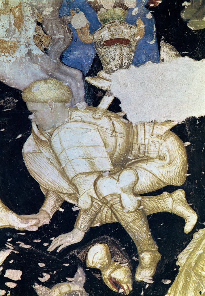 Battle of the knights, by Antonio Pisano also known as Pisanello, 1440, 15th Century, fresco. Italy, Lombardy, Mantua, Ducal Palace. Detail. Kneeling warrior armor: cuirass greaves arm-greaves beige white black background. : Stock Photo