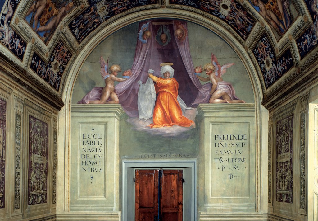 Stock Photo: 1899-33455 Santa Maria Novella of decoration of the Cappella del Papa (Pope's Chapel), by Carrucci Jacopo know as Pontormo, 1515, 16th Century, fresco. Italy, Tuscany, Florence, Santa Maria Novella, Cappella del Papa, Pope's Chapel, lunette. Detail. St Veronica between two Angels holding a curtain. Barrel vault compartments panels scenes decoration colors inscriptions grotesques.