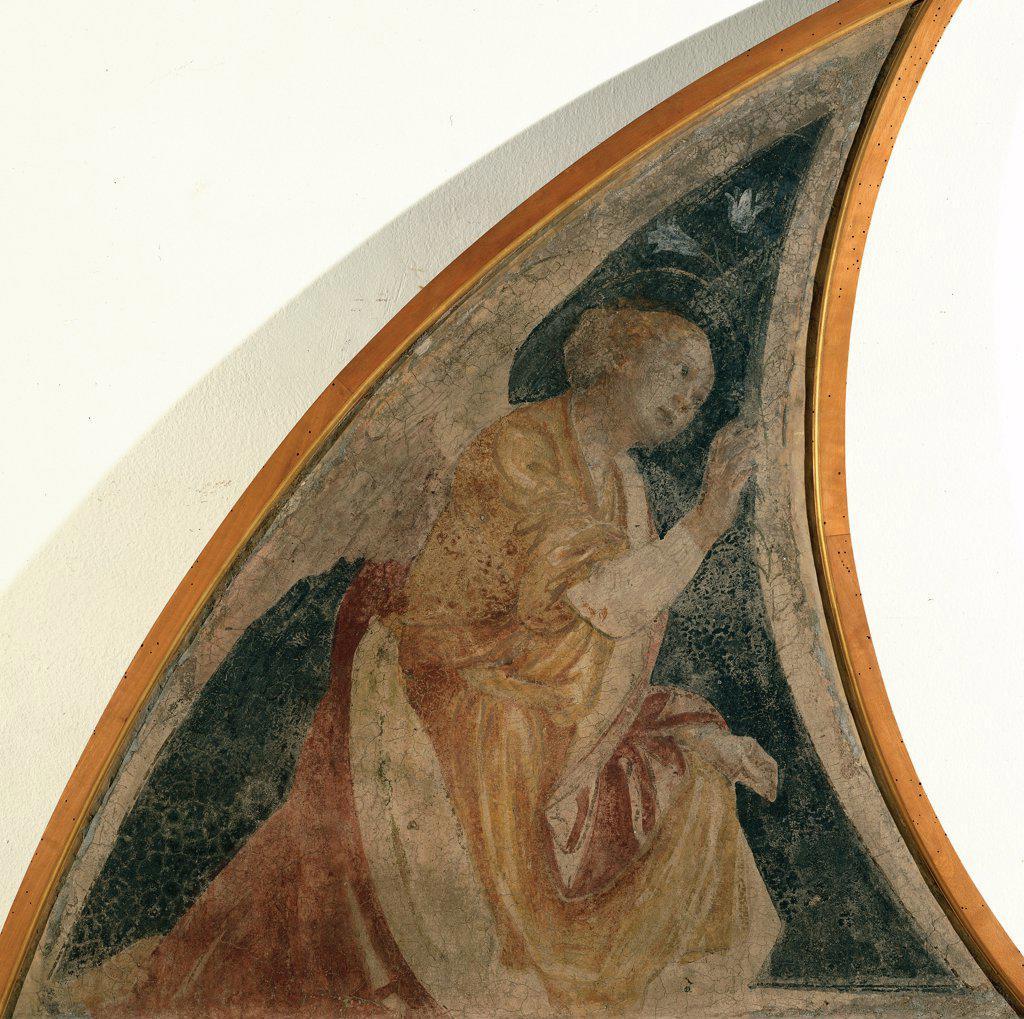 Annunciatory Angel, by Ferrari Gaudenzio, 1539, 16th Century, fresco transferred to canvas, wooden frame. Italy, Lombardy, Milan, Brera Art Gallery. Semi-lunette announcing angel. : Stock Photo