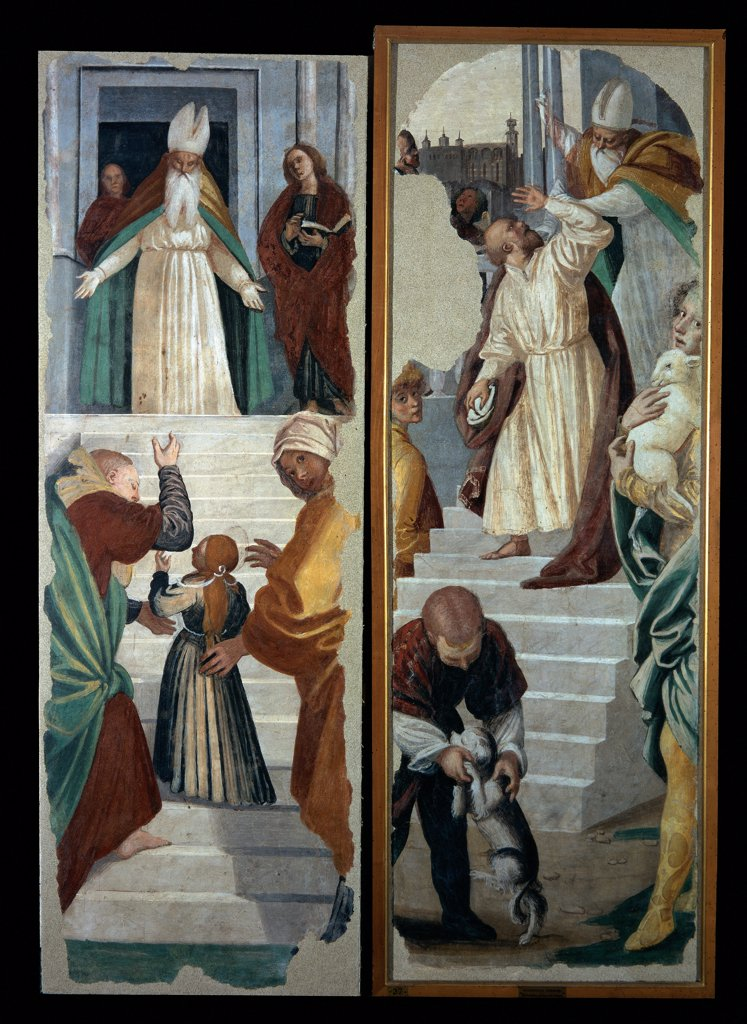 Stock Photo: 1899-33478 Scenes from the Life of the Virgin and life of St Anna and St Joachim of Presentation of the Virgin and Joachim driven from the Temple, by Ferrari Gaudenzio, 1539 - 1539, 16th Century, fresco transferred to canvas, wooden frame. Italy, Lombardy, Milan, Brera Art Gallery. Whole artwork. Presentation of child Virgin Mary Joachim driven from the Temple priest stairs dog lamb.