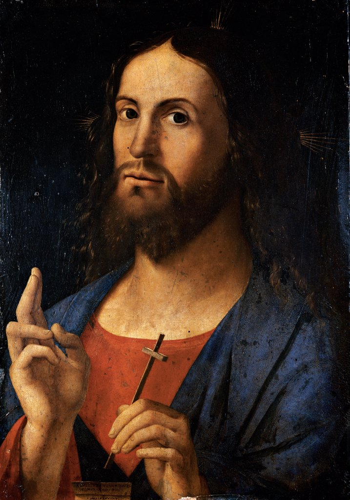 The Savior Blessing, by Vivarini Alvise, 1498, 15th Century, oil on panel. Italy, Lombardy, Milan, Brera Art Gallery. Whole artwork. Bust Jesus Christ blessing Redemptor: Savior cross face dress red blue. : Stock Photo