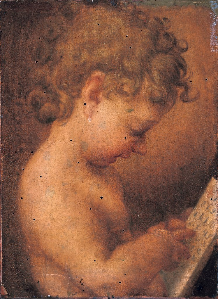 Stock Photo: 1899-33489 Little Putto Praying or Young Boy Reading, by copy from Allegri Antonio detto Correggio, 16th Century, Unknow. Italy, Campania, Naples, Capodimonte National Museum and Galleries. Whole artwork. Child curled hair half bust holding a written sheet.