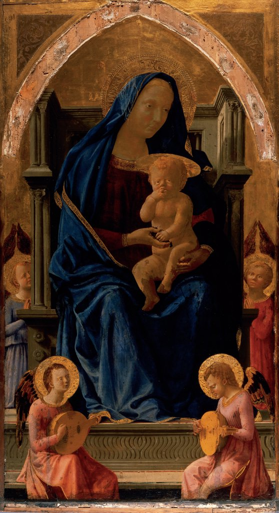 Virgin and Child (Pisa Polyptych), by Tommaso di Ser Giovanni Cassai known as Masaccio, 1426, 15th Century, tempera on poplar board. United Kingdom, London, National Gallery of Art. Whole artwork. Panel depicting the Virgin Mary enthroned and Child Jesus: Baby Jesus: Christ Child and four musician angels. : Stock Photo