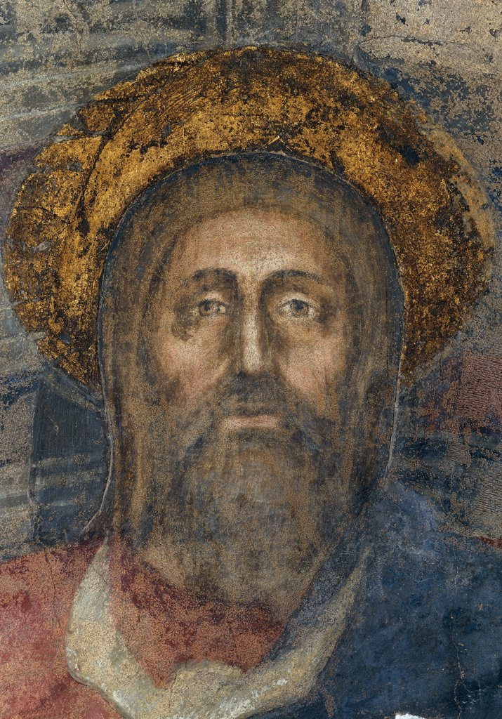 Trinity, by Tommaso di Ser Giovanni Cassai known as Masaccio, 1426 - 1428, 15th Century, fresco. Italy, Tuscany, Florence, Santa Maria Novella church. Detail. Face of the Eternal Father: God, after restoration. : Stock Photo
