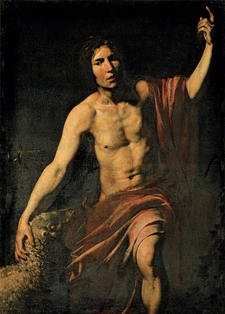 Stock Photo: 1899-33520 St John the Baptist, by Valentin Jean Velentin de Boulogne, 1628 - 1630, 17th Century, Unknow. Italy, Marche, Camerino, Macerata, Santa Maria in Via Church. Whole artwork. Man St John the Baptist raised hand drape dress drapery lamb semi-darkness: faint light black red.