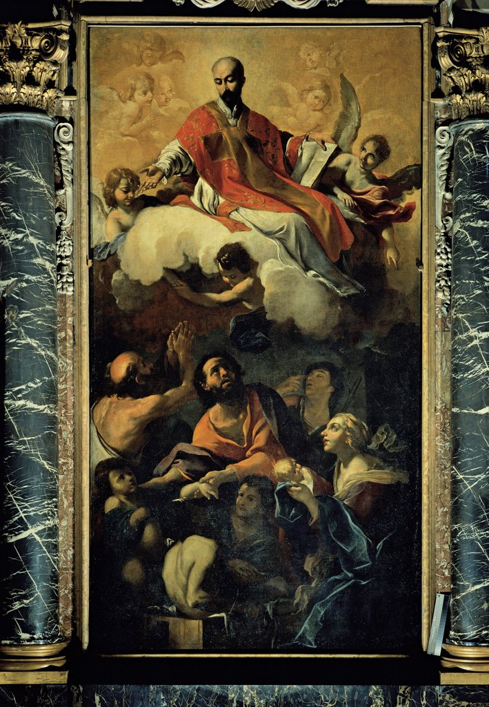Apotheosis of St Ignatius, by Brandi Giacinto, 1621 - 1691, 17th Century, canvas. Italy, Emilia Romagna, Modena, San Bartolomeo church. Whole artwork. Double order men women drapery: draping Apotheosis St Ignatius chasuble: planet angels clouds columns marble capital. : Stock Photo