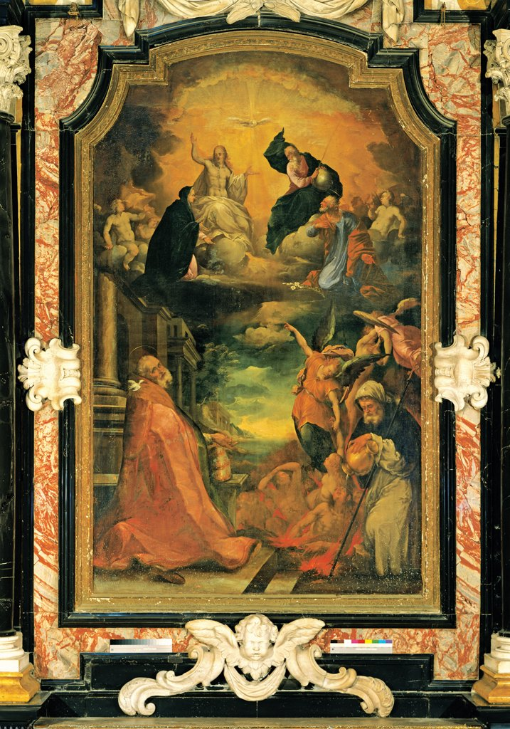Stock Photo: 1899-33523 Trinity in Glory, St Gregorius Magnus and Expiating Souls, by Carpinoni Domenico, 17th Century, canvas. Italy, Lombardy, Clusone, Bergamo, Parish Church. Whole artwork. Trinity in Glory St Gregorius Magnus and expiating souls double order saints marble cornice.