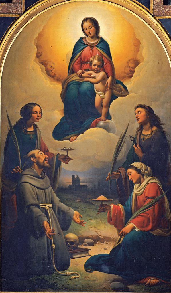 Stock Photo: 1899-33524 Madonna and Child with Saints Francis, Lucy, Agatha and Apollonia, by Chierici Alfonso, 1847 - 1854, 19th Century, Unknow. Italy, Emilia Romagna, Reggio Emilia, Madonna della Ghiara Sanctuary. Whole artwork. Madonna and Child in glory putti: cherubs procession: row angels Saints Francis monk skull vanitas Lucy plate eyes Agatha breast Apollonia pincers palm martyrs foreshortened view landscape arched altarpiece mar.