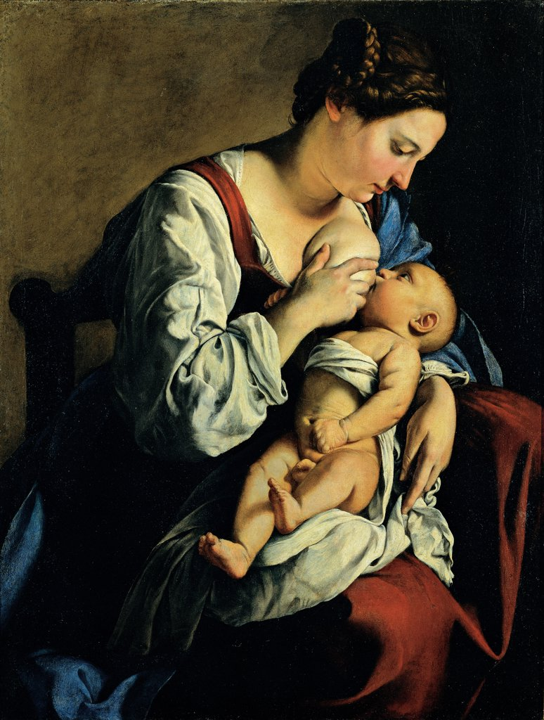 Stock Photo: 1899-33527 Madonna and Child, by Gentileschi Orazio, 1609 - 1609, 17th Century, oil on canvas. Romania, Bucarest, Romania National Museum of Art. Whole artwork. Madonna Virgin Mary breast suckling newborn Child Jesus: Baby Jesus: Christ Child swaddling bands clothes: dresses drapery: draping white red blue light shadow.