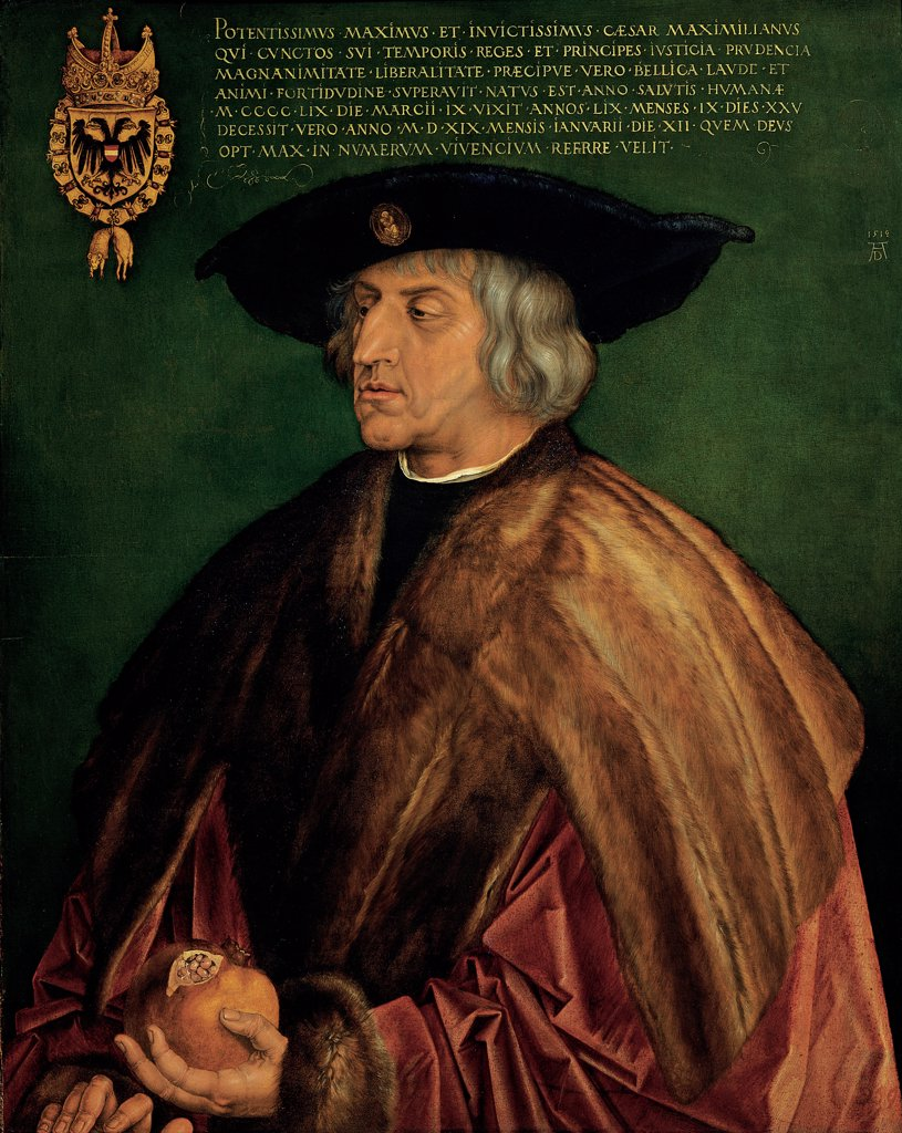 Portrait of Emperor Maximilian I, by Durer Albrecht, 1519, 16th Century, lime tree panel. Austria, Wien, Kunsthistorisches Museum. Whole artwork. Man Emperor Maximilian mantle: cloak silk red mink coat hat black headdress: headgear pomegranate green background heraldic coat of arms writing Roman characters. : Stock Photo