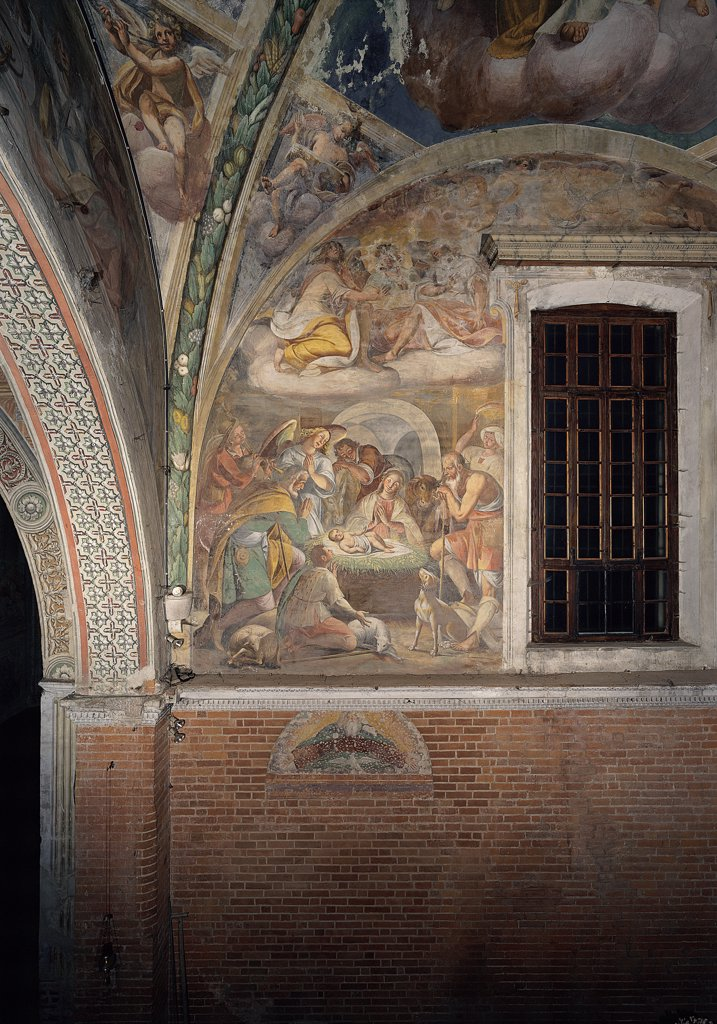 Nativity Vision of Saint Bernard, by Della Rovere Giovanni Mauro known as Fiammenghino, Della Rovere Giovan Battista known as Fiammenghino, 17th Century, fresco. Italy, Lombardy, Milan, Chiaravalle Abbey. Detail. Adoration of the shepherds Nativity Mary Madonna St Joseph Child Jesus: Baby Jesus: Christ Child dog arch entrance cloud bystanders: onlookers. : Stock Photo