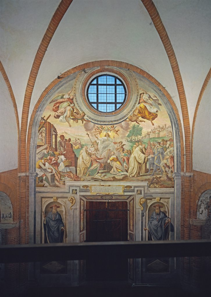 Foundation of the Abbey of Chiaravalle, by Della Rovere Giovanni Mauro known as Fiammenghino, Della Rovere Giovan Battista known as Fiammenghino, 17th Century, fresco. Italy, Lombardy, Milan, Chiaravalle Abbey, church, counterfacade. Whole artwork. Founding of Chiaravalle Abbey oculus Assumption of the Virgin angels Saints niche. : Stock Photo