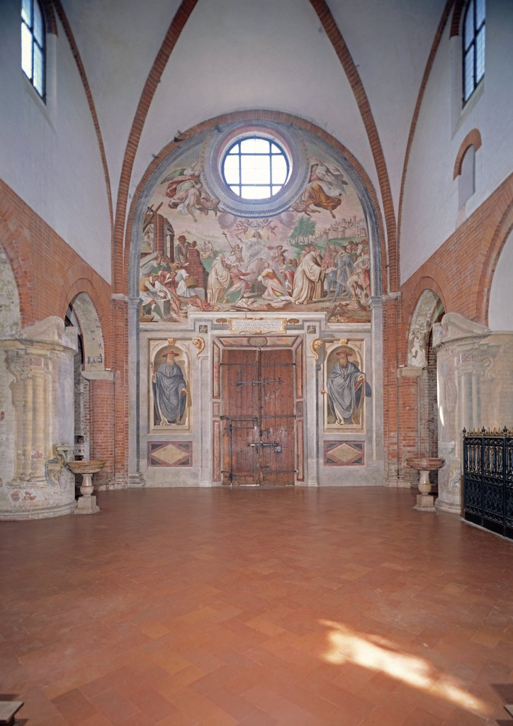Stock Photo: 1899-33551 Foundation of the Abbey of Chiaravalle, by Della Rovere Giovanni Mauro known as Fiammenghino, Della Rovere Giovan Battista known as Fiammenghino, 17th Century, fresco. Italy, Lombardy, Milan, Chiaravalle Abbey, church, counterfacade. Whole artwork. Founding of Chiaravalle Abbey oculus Assumption of the Virgin angels Saints niche.