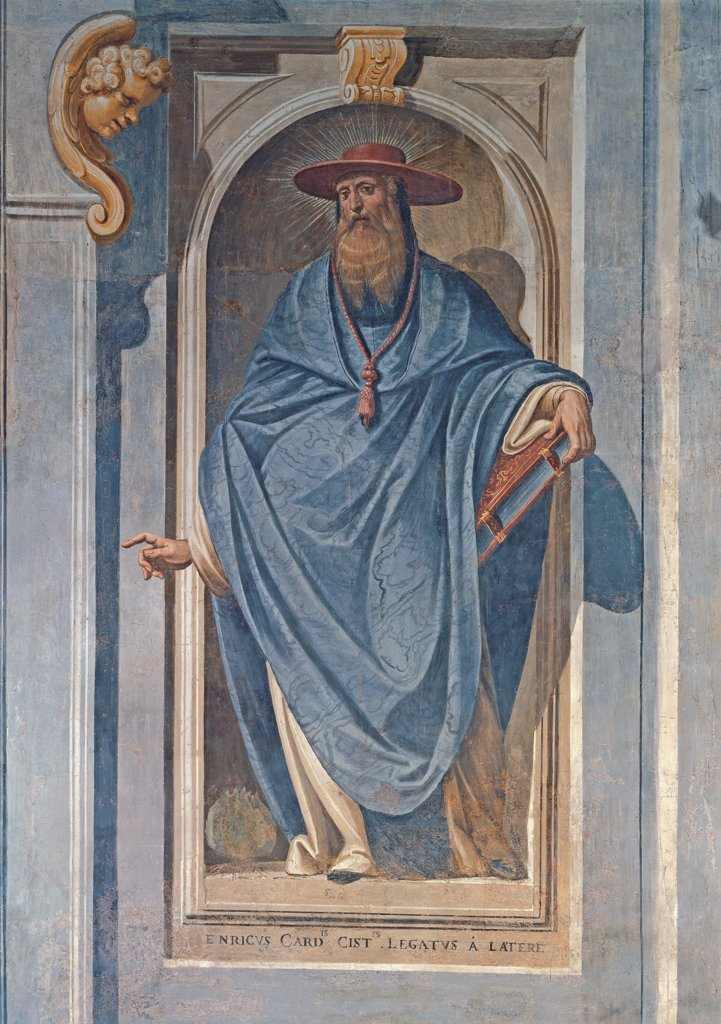 Stock Photo: 1899-33555 Cardinal Enrico, by Della Rovere Giovanni Mauro known as Fiammenghino, Della Rovere Giovan Battista known as Fiammenghino, 17th Century, fresco. Italy, Lombardy, Milan, Chiaravalle Abbey. Whole artwork. The Cardinal legate Henry niche book attributes: emblems hat drapery: draping drape: cloth volute head blue white light blue: azure yellow ochre red.