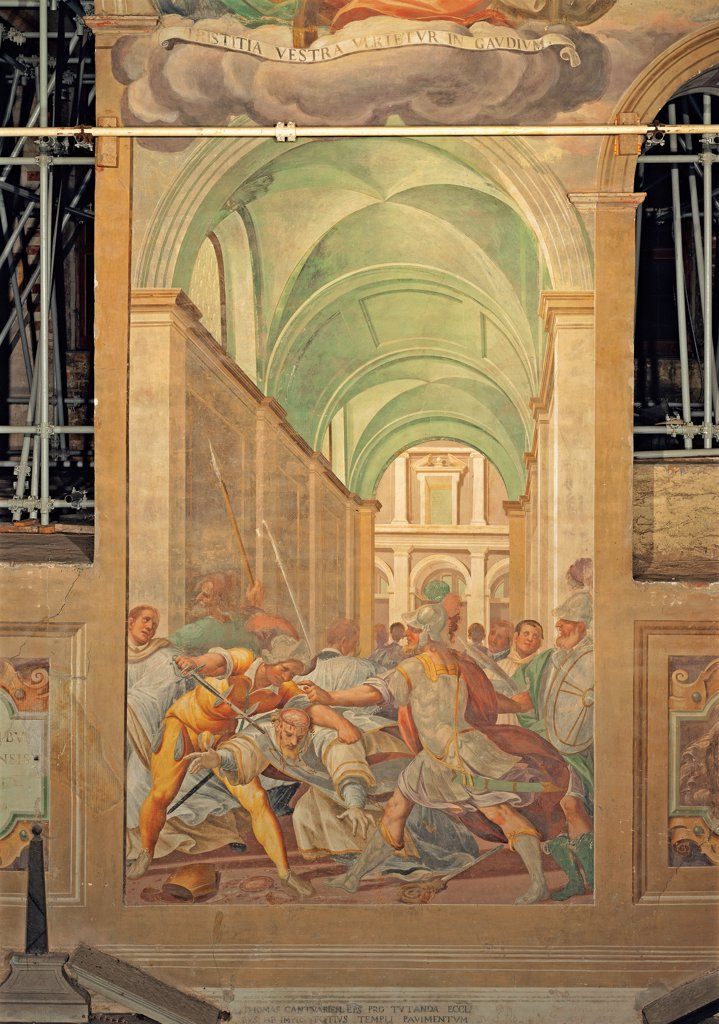 Stock Photo: 1899-33556 Martyrdom of St Thomas Becket, by Della Rovere Giovanni Mauro known as Fiammenghino, Della Rovere Giovan Battista known as Fiammenghino, 17th Century, fresco. Italy, Lombardy, Milan, Chiaravalle Abbey. Whole artwork. Martyrdom of St Thomas Becket Thomas cloud broken cartouche perspective view cross vaults soldiers helm cuirasses: armors green beige white red yellow.